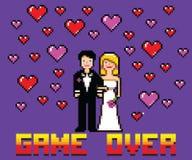 Épouser la carte drôle avec le jeu au-dessus du style d'art de pixel de message Image libre de droits