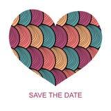 Épouser la carte romantique d'invitation avec le coeur tiré par la main Sauvez l'invitation de date dans le vecteur illustration libre de droits