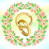 Épouser la guirlande avec des anneaux d'or de mariage au centre illustration stock