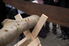 Épouser le rituel : a vu un tronc d'arbre image stock