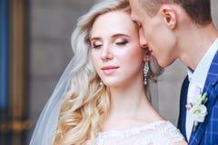 Épouser les couples romantiques s'étreint Jeune mariée de beauté avec le marié Photo stock
