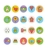 Épouser les icônes colorées 4 de vecteur Photographie stock