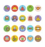 Épouser les icônes colorées 5 de vecteur Photographie stock