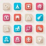 Épouser les icônes plates. Coloré Photographie stock libre de droits