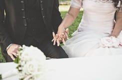 Épouser particulier et bouquest Photos libres de droits