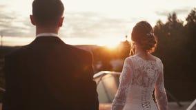 Épousez nouvellement la promenade et la montre affectueuses de couples au coucher du soleil banque de vidéos