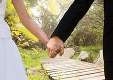 Épousez nouvellement les couples tenant des mains en parc image libre de droits