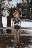 Épouvantail dans la première neige d'hiver Images stock