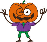 Épouvantail frais de Halloween clignant de l'oeil et faisant un signe CORRECT Photo stock