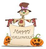 Épouvantail, potirons et Halloween drôles Image libre de droits
