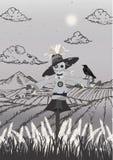 Épouvantail sur le noir de champ et la taille grise de portrait illustration libre de droits