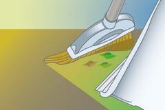 Épuisette et balai Déchets de balayage sur des tuiles illustration stock