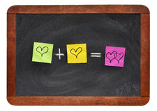 Équation d'amour sur le tableau noir de vintage Images libres de droits