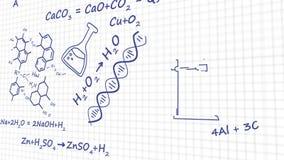Équation de théorie de chimie de lien de molécule d'élément à l'arrière-plan blanc banque de vidéos
