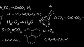 Équation de théorie de chimie de lien de molécule d'élément à l'arrière-plan noir clips vidéos