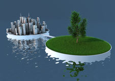 Équilibre de nature et de ville Photographie stock libre de droits