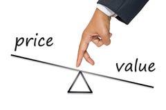 Équilibre des prix et de valeur Photos libres de droits