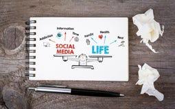 Équilibre social de la vie de media Diagramme avec des mots-clés et des icônes Images libres de droits