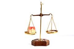 Équilibrez votre concept de la vie avec l'argent de pondération d'échelle et l'isolat de vie de famille sur le fond blanc Photo libre de droits