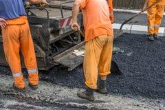 Équipage de construction de routes  Images libres de droits