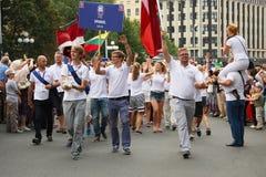 Équipage de défilé du bateau à Riga, le 27 juillet 2013 Images libres de droits