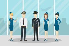 Équipage des aéronefs d'avion illustration libre de droits