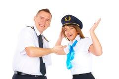 Équipage des aéronefs heureux Image stock