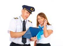 Équipage des aéronefs occupé Photos stock