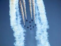 Équipe acrobatique aérienne d'avions à réaction de faucon Images stock