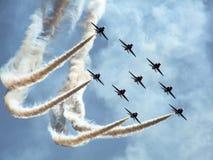 Équipe acrobatique aérienne d'avions à réaction de formation Images stock