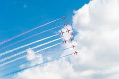 Équipe acrobatique aérienne dans l'action Photographie stock