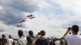 Équipe acrobatique aérienne du vol quatre MiG-29 Swifts Image stock