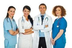 Équipe amicale de quatre médecins Photographie stock