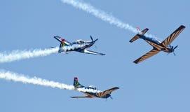 Équipe argentée de faucons faisant une rupture de formation Images stock