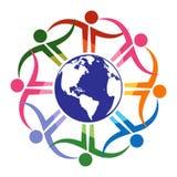 Équipe autour de globe - logo de vecteur illustration de vecteur