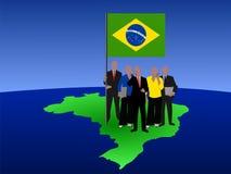 Équipe brésilienne d'affaires sur la carte Photos stock