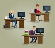 Équipe détaillée d'entreprise constituée en société de caractère de vecteur illustration stock