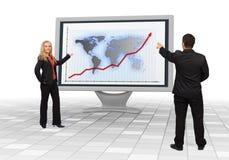 Équipe d'affaires affichant l'accroissement financier Image stock