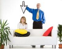 Équipe d'affaires avec la flèche indicatrice Photos stock