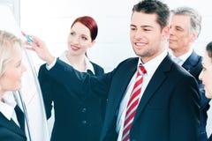 Équipe d'affaires avec le chef dans la présentation de bureau Images libres de droits