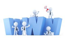 Équipe d'affaires avec le signe de WWW Contient le chemin de coupure Photographie stock libre de droits