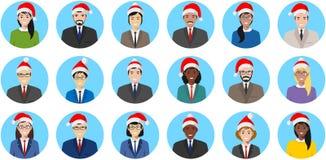 Équipe d'affaires de Noël Ensemble d'icônes plates de style de personnes colorées différentes : homme d'affaires et femme d'affai Photo stock