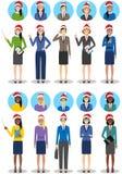 Équipe d'affaires de Noël Ensemble d'illustration détaillée des femmes d'affaires dans des chapeaux de Santa Claus dans le style  Image stock