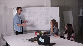Équipe d'affaires discutant le projet ou l'idée Couchant, exécutif, concept de démarrage Deux femmes s'asseyant au bureau et à l' banque de vidéos