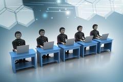 Équipe d'affaires regardant un ordinateur portable Images stock