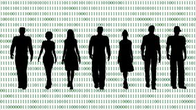Équipe d'affaires sur le fond du code binaire illustration de vecteur