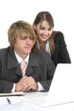 Équipe d'affaires travaillant au bureau au-dessus du blanc photo stock