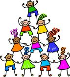 Équipe d'enfants heureux Images stock