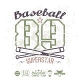 Équipe d'université de superstar de base-ball d'emblème Image stock