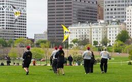 Équipe de cerf-volant du feu de Chicago Images stock